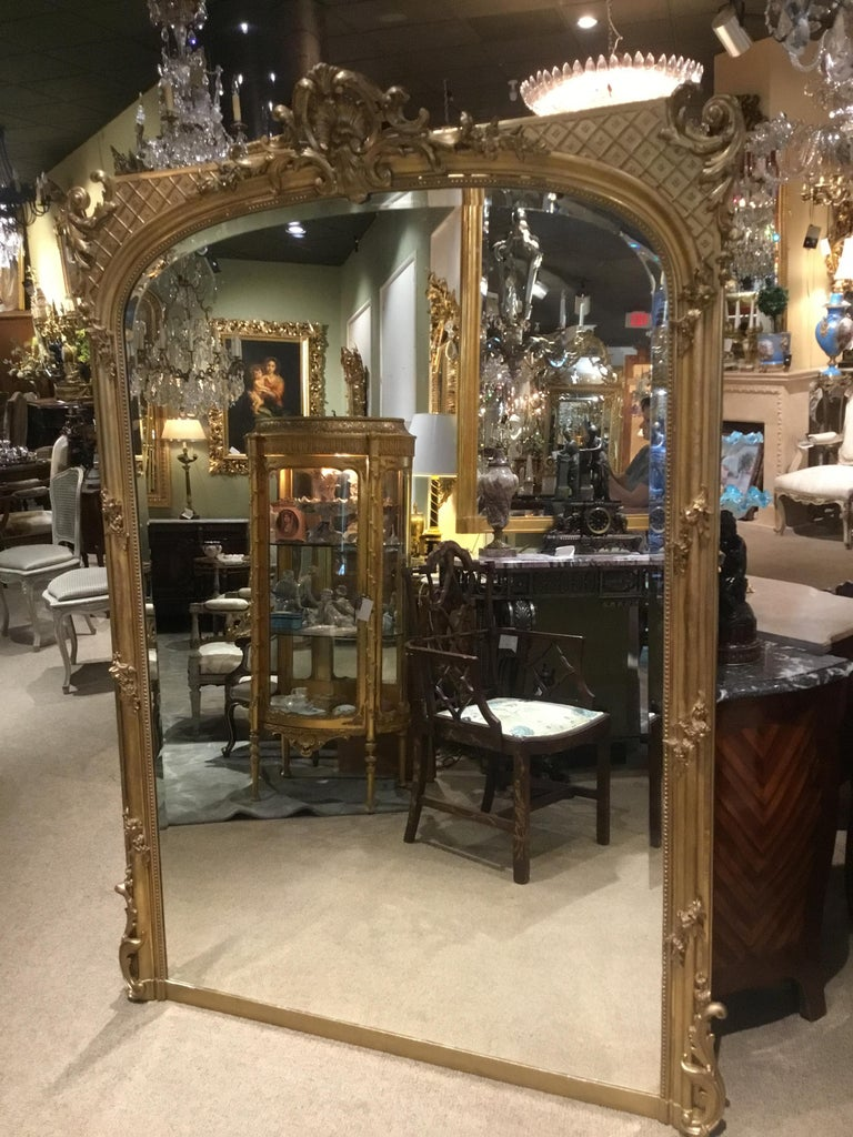 Palace Size French Giltwood Mirror, Louis XV Style, 19th Century For Sale 8