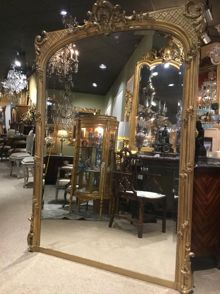 Palace Size French Giltwood Mirror, Louis XV Style, 19th Century In Good Condition For Sale In Houston, TX