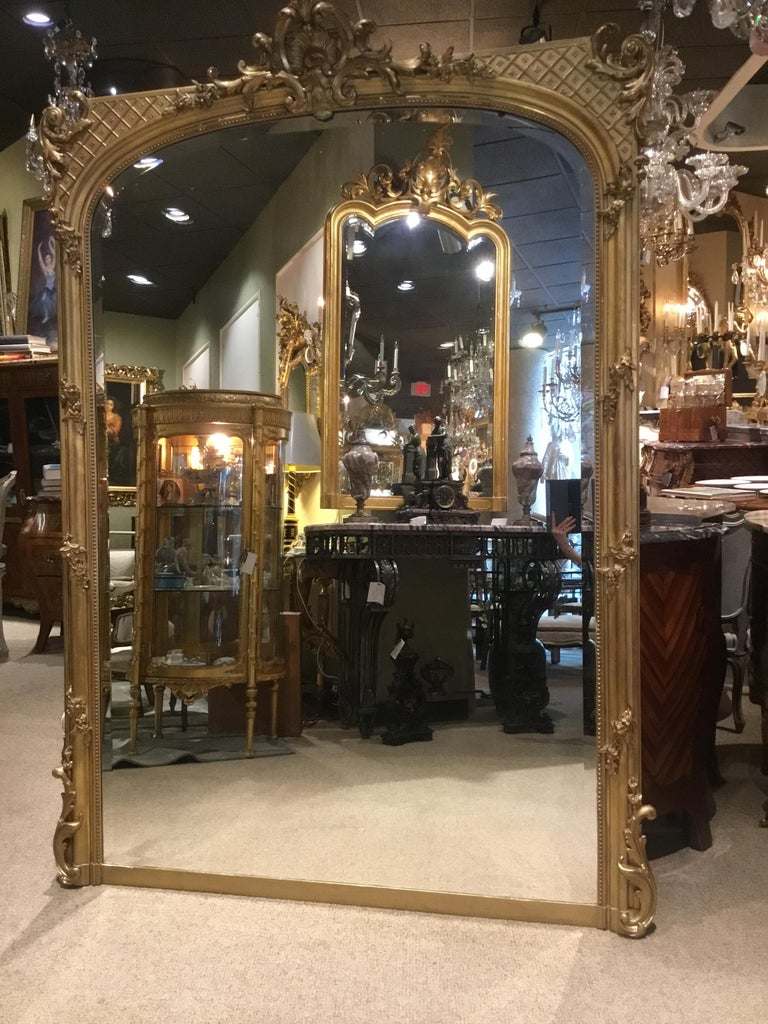 Palace Size French Giltwood Mirror, Louis XV Style, 19th Century For Sale 1