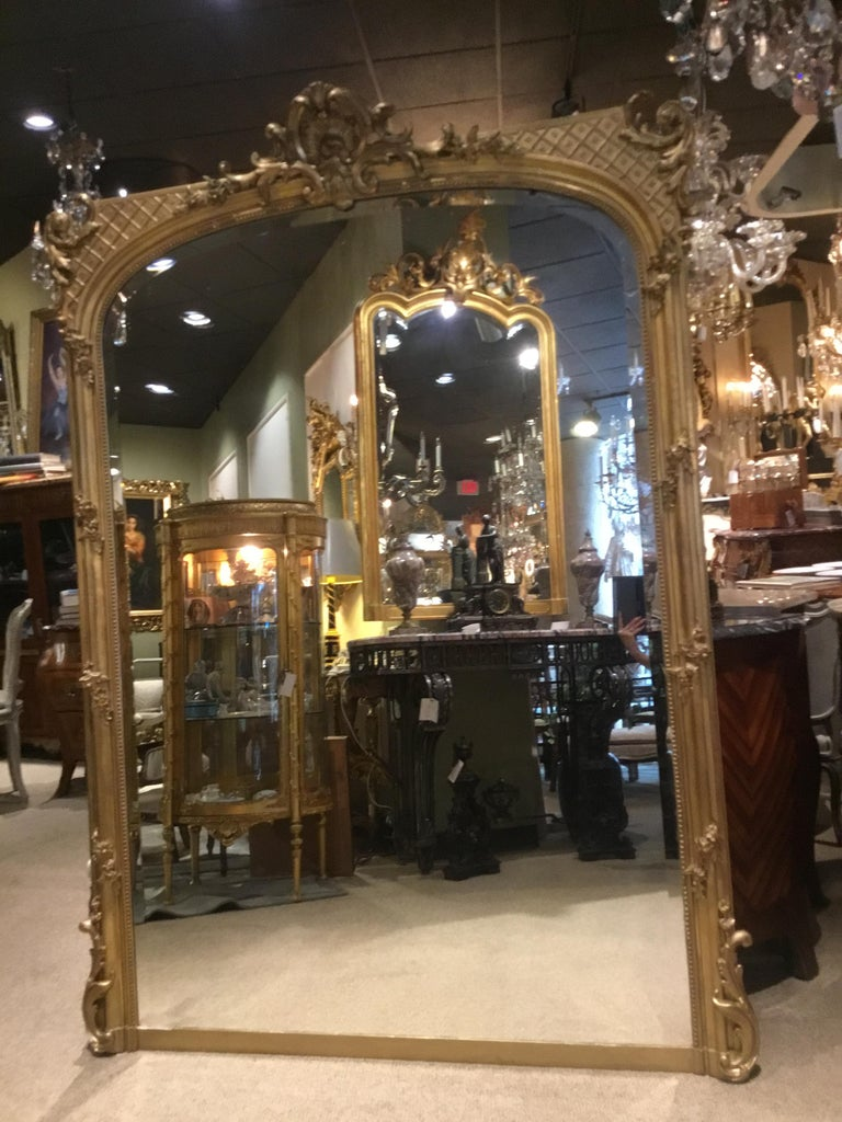 Palace Size French Giltwood Mirror, Louis XV Style, 19th Century For Sale 2
