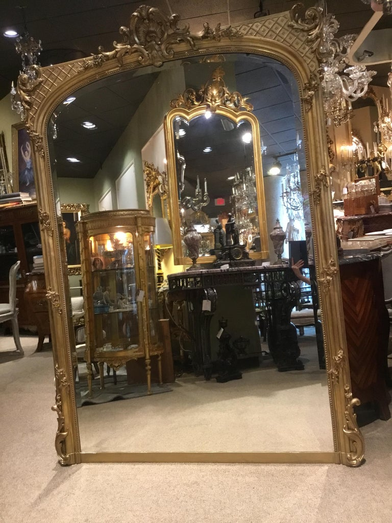 Palace Size French Giltwood Mirror, Louis XV Style, 19th Century For Sale 3