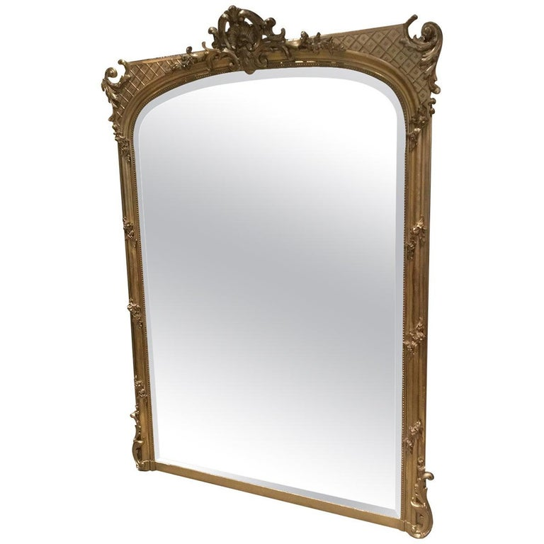 Palace Size French Giltwood Mirror, Louis XV Style, 19th Century For Sale