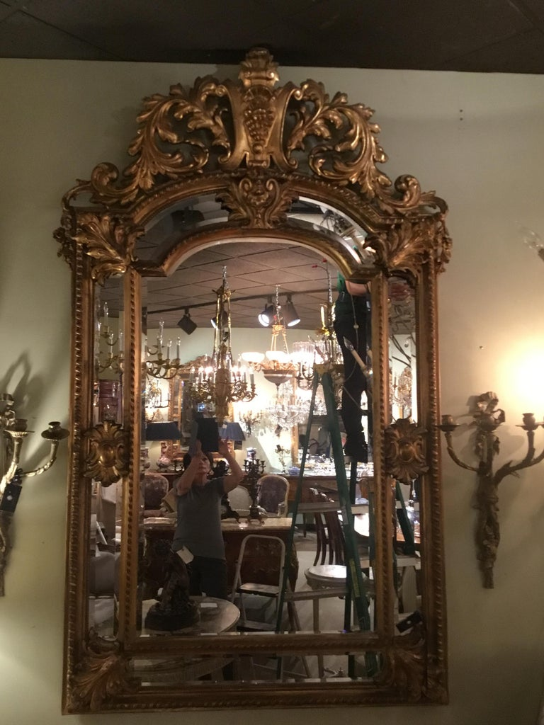 Palace Size Giltwood Rococo Style Cushion Mirror Beveled with Floral Designs For Sale 6