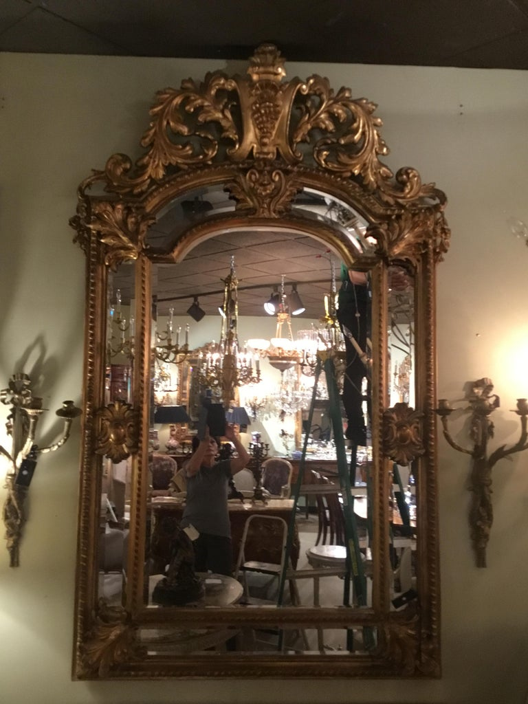 Palace Size Giltwood Rococo Style Cushion Mirror Beveled with Floral Designs For Sale 7