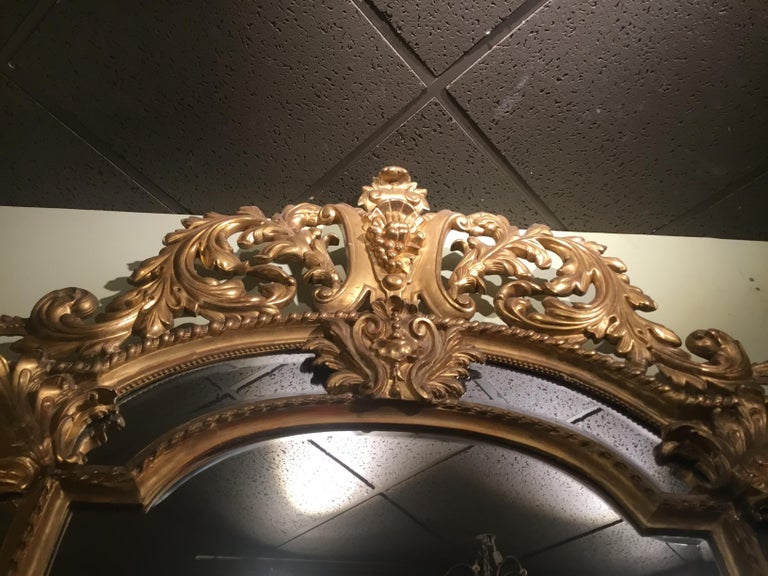 Hand-Carved Palace Size Giltwood Rococo Style Cushion Mirror Beveled with Floral Designs For Sale