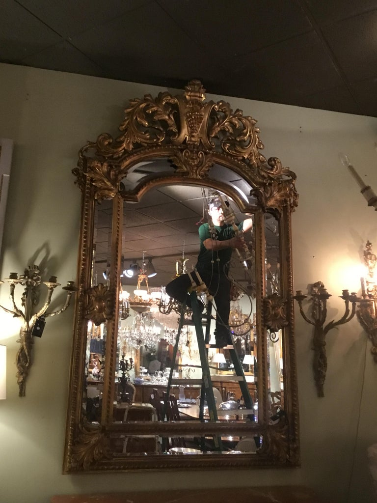 Palace Size Giltwood Rococo Style Cushion Mirror Beveled with Floral Designs In Excellent Condition For Sale In Houston, TX