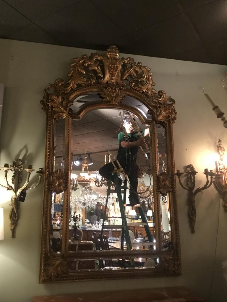 19th Century Palace Size Giltwood Rococo Style Cushion Mirror Beveled with Floral Designs For Sale