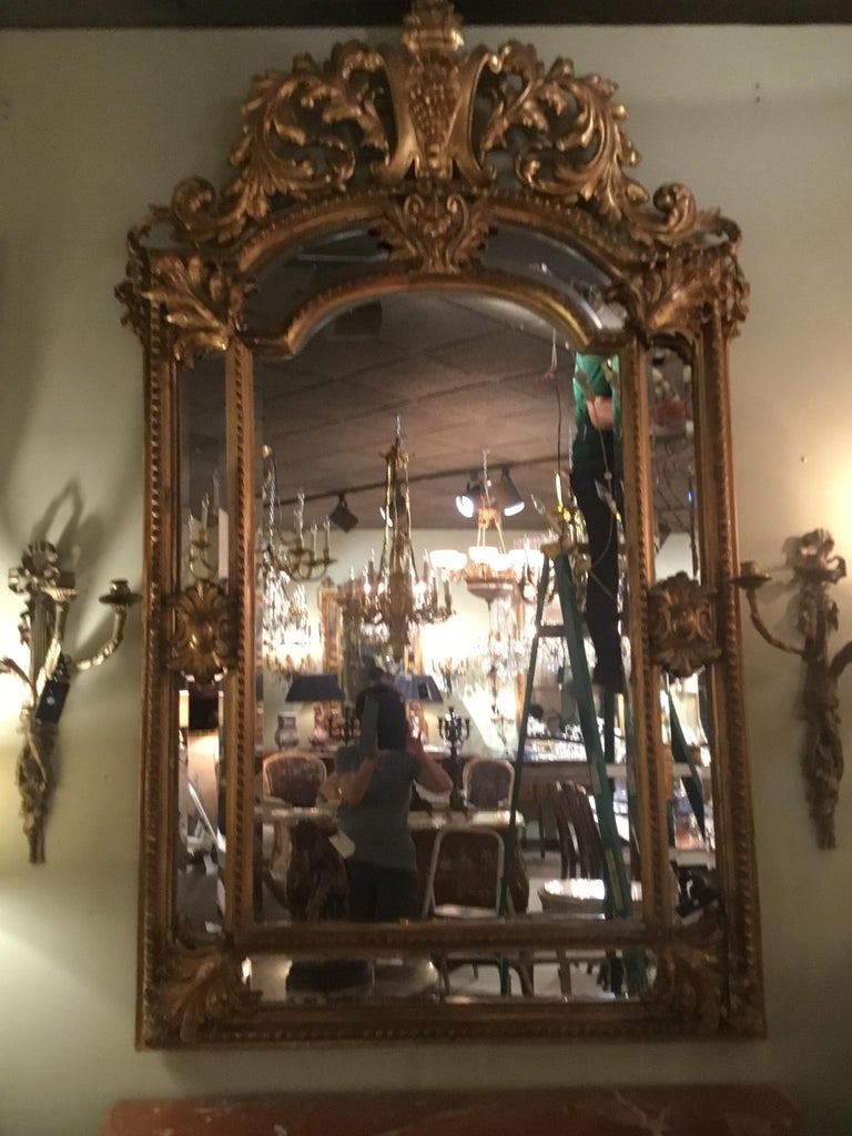 Palace Size Giltwood Rococo Style Cushion Mirror Beveled with Floral Designs For Sale 3