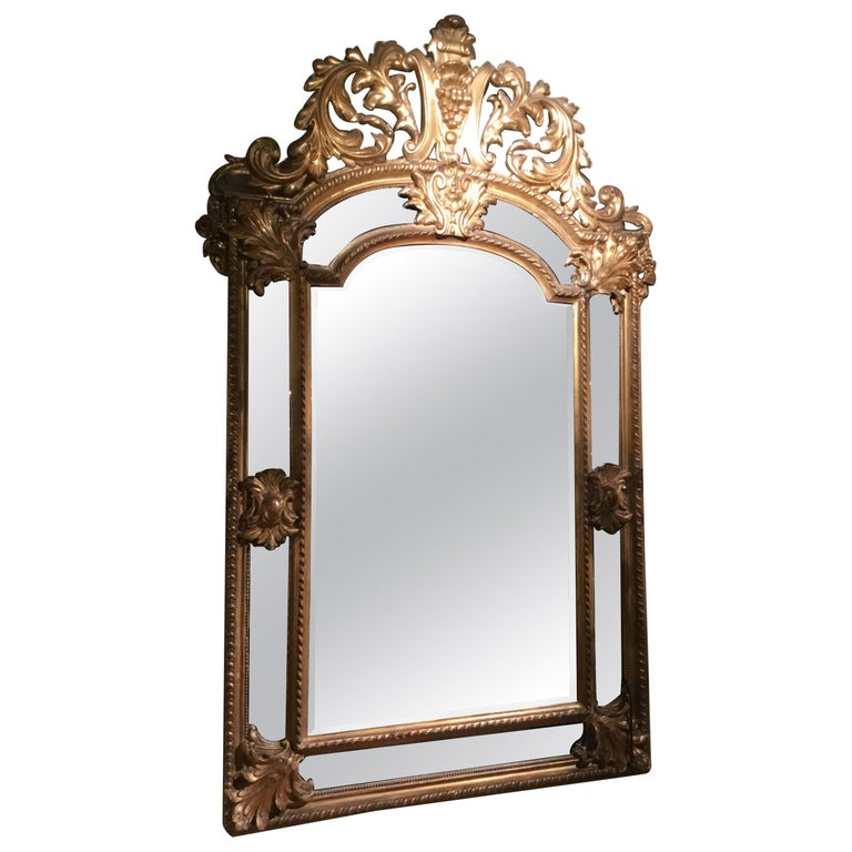Palace Size Giltwood Rococo Style Cushion Mirror Beveled with Floral Designs For Sale