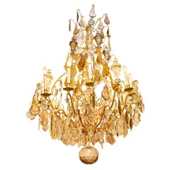 Palace Size Louis XVI Style Cage Form Bronze and Crystal Chandelier