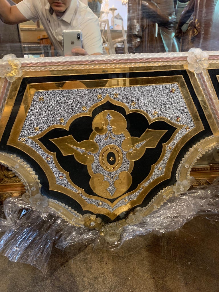 Beaded Palace Venetian Reverse Painted Mirror For Sale