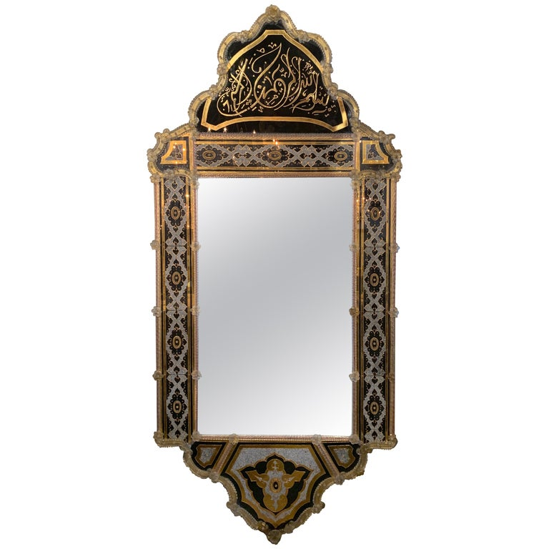 Palace Venetian Reverse Painted Mirror For Sale
