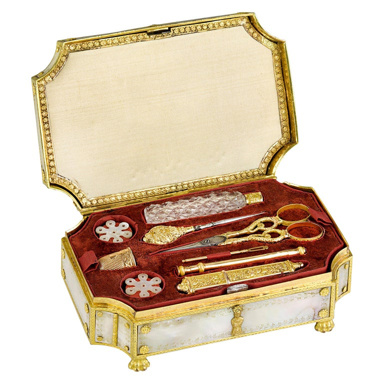 Palais Royal Mother-of-Pearl Sewing Box For Sale