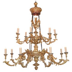Palatial 18th Century French Carved Giltwood Chandelier