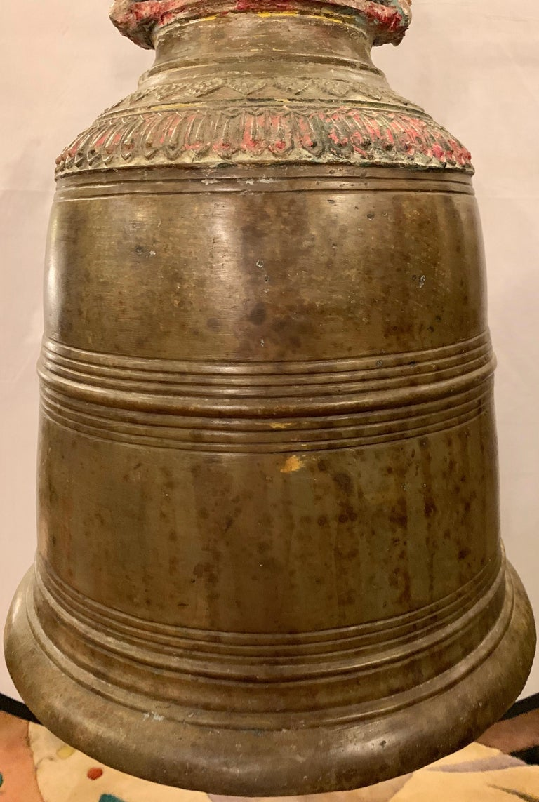 Palatial 19th Century Bronze Bell on Stand W. Gong For Sale 5