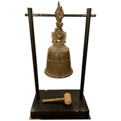 Palatial 19th Century Bronze Bell on Stand W. Gong