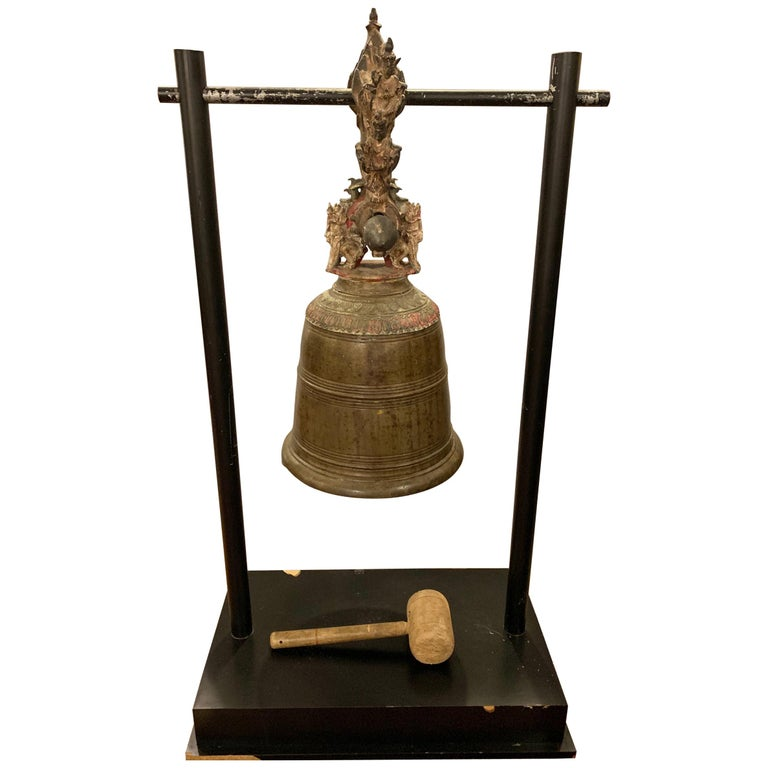 Palatial 19th Century Bronze Bell on Stand W. Gong For Sale