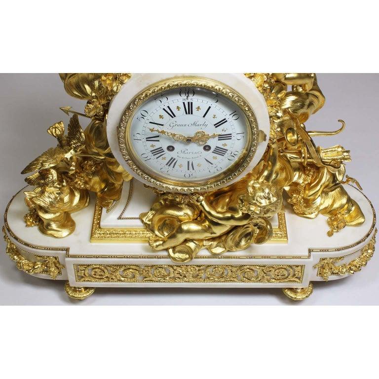 Palatial 19th Century Louis XV Style Ormolu Mantel Cherub Clock Attr. Beurdeley  For Sale 4