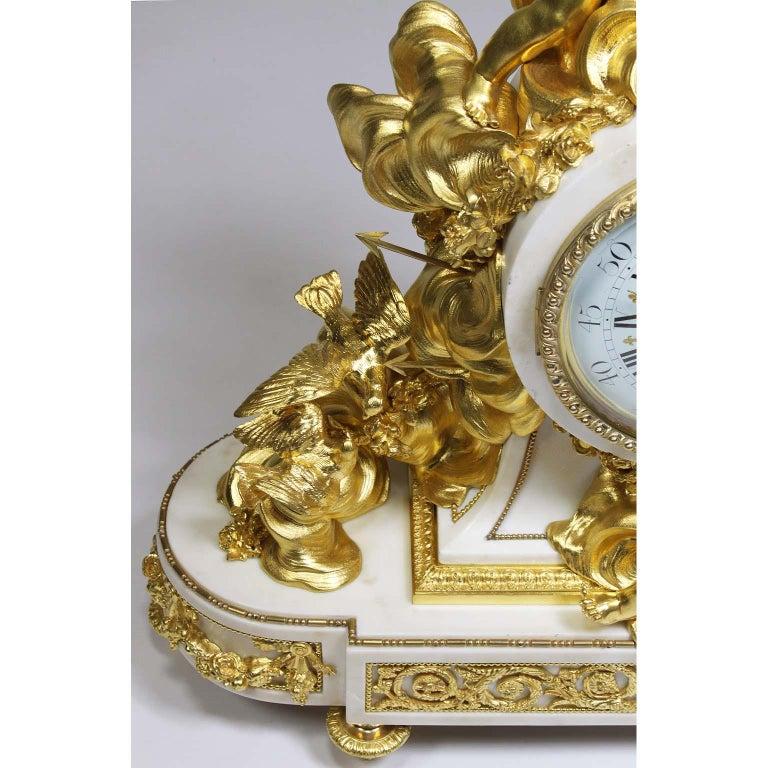 Palatial 19th Century Louis XV Style Ormolu Mantel Cherub Clock Attr. Beurdeley  For Sale 5