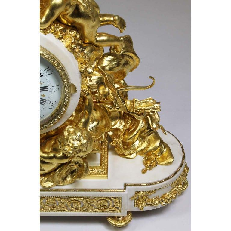 Palatial 19th Century Louis XV Style Ormolu Mantel Cherub Clock Attr. Beurdeley  For Sale 6