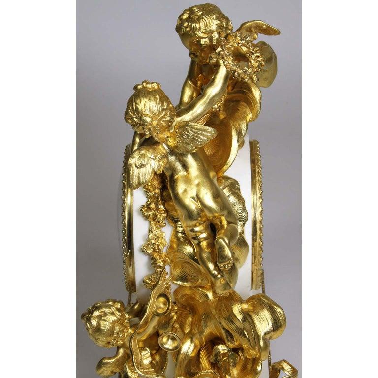 Palatial 19th Century Louis XV Style Ormolu Mantel Cherub Clock Attr. Beurdeley  For Sale 7