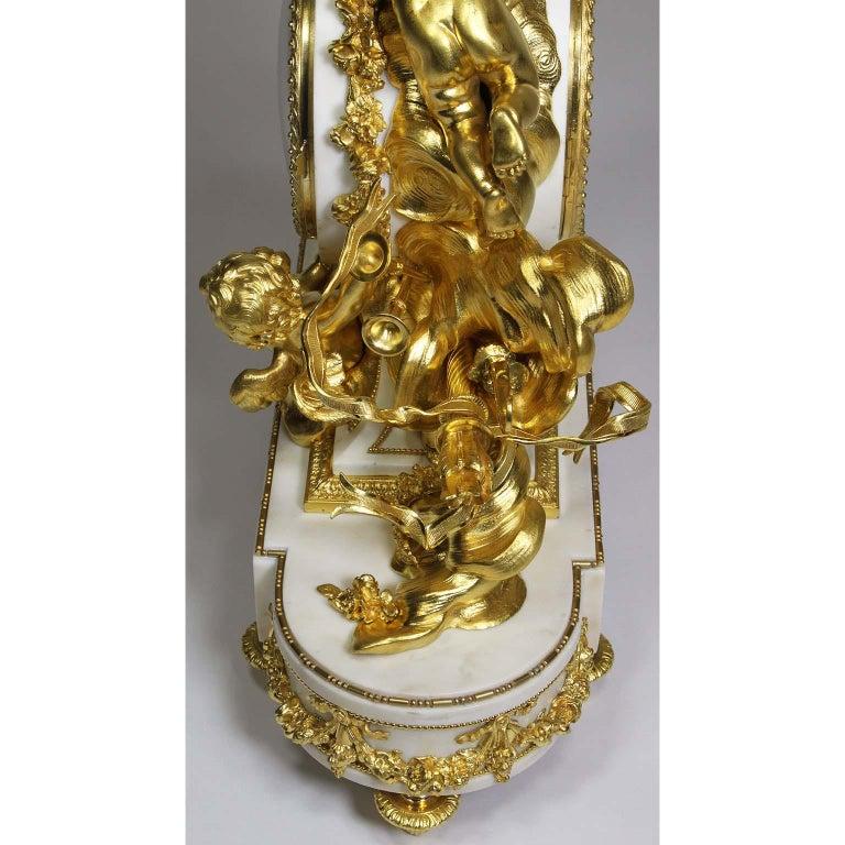 Palatial 19th Century Louis XV Style Ormolu Mantel Cherub Clock Attr. Beurdeley  For Sale 9