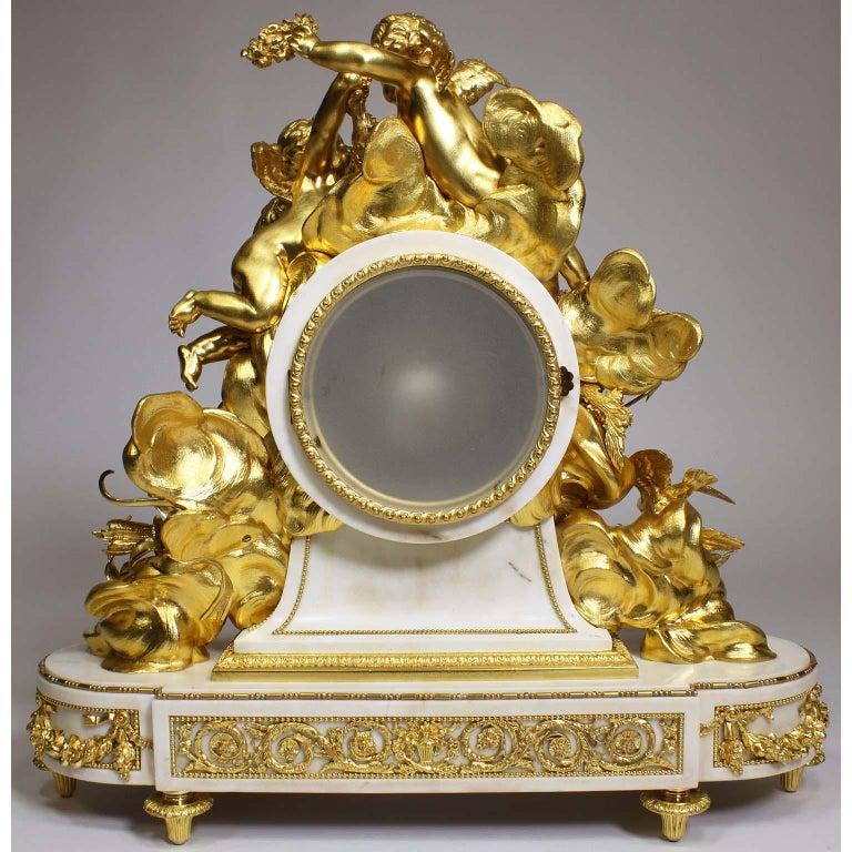 Palatial 19th Century Louis XV Style Ormolu Mantel Cherub Clock Attr. Beurdeley  For Sale 10