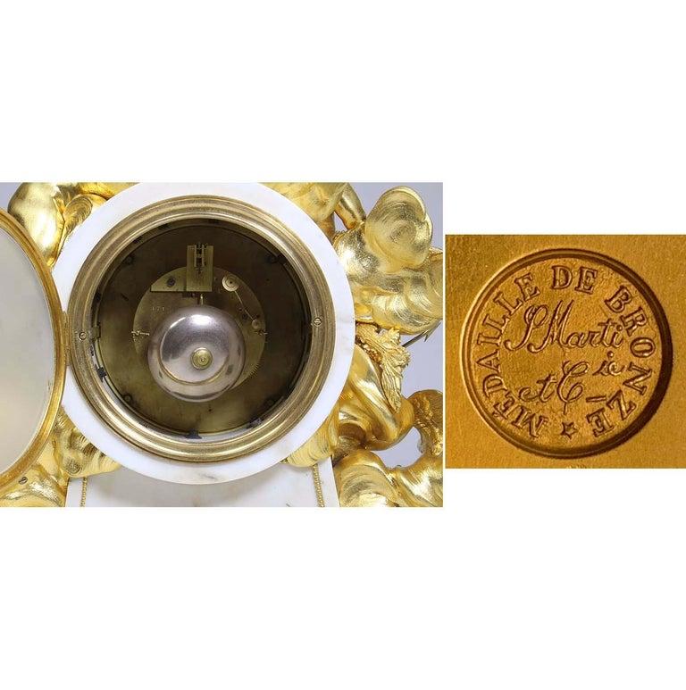 Palatial 19th Century Louis XV Style Ormolu Mantel Cherub Clock Attr. Beurdeley  For Sale 11