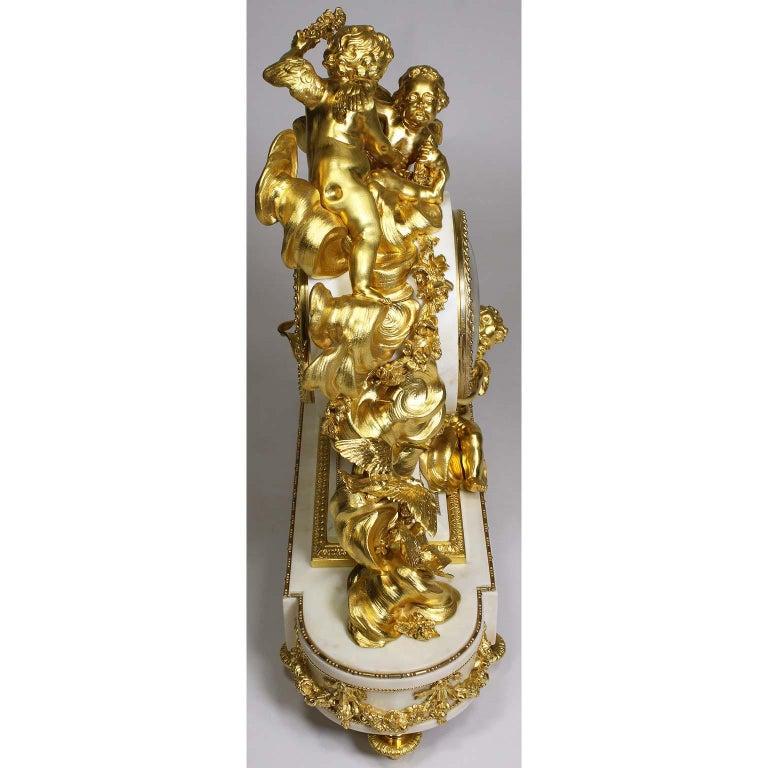 Palatial 19th Century Louis XV Style Ormolu Mantel Cherub Clock Attr. Beurdeley  For Sale 12