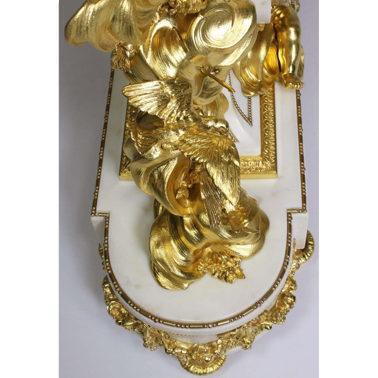 Palatial 19th Century Louis XV Style Ormolu Mantel Cherub Clock Attr. Beurdeley  For Sale 14