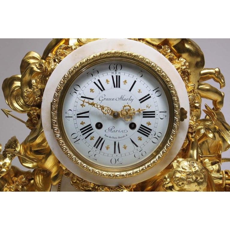 French Palatial 19th Century Louis XV Style Ormolu Mantel Cherub Clock Attr. Beurdeley  For Sale