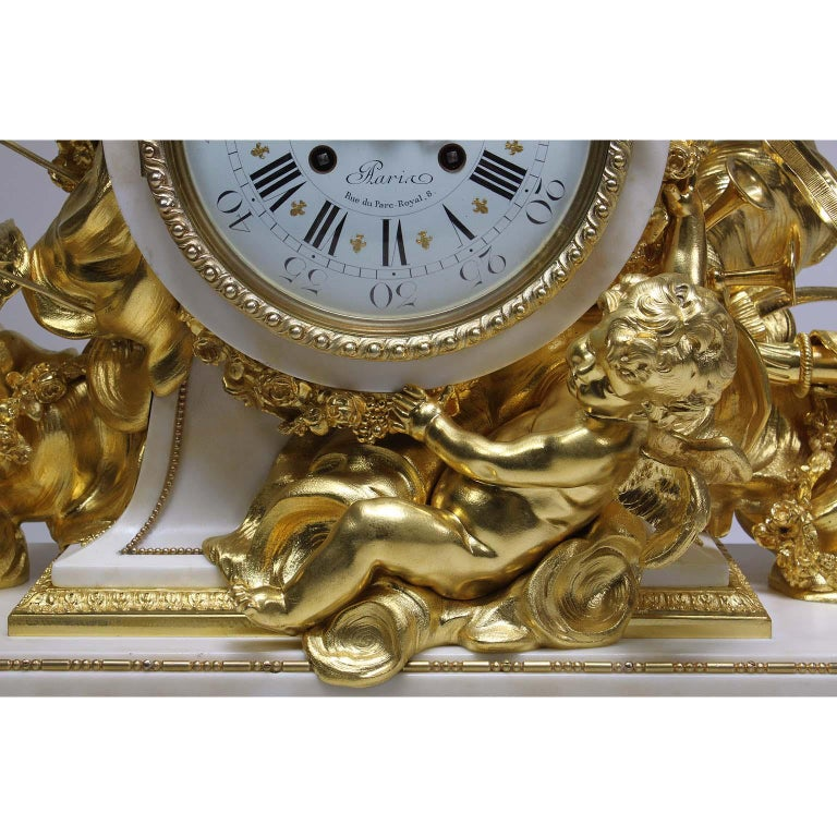 Gilt Palatial 19th Century Louis XV Style Ormolu Mantel Cherub Clock Attr. Beurdeley  For Sale