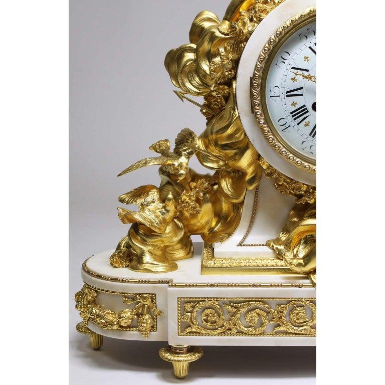 Marble Palatial 19th Century Louis XV Style Ormolu Mantel Cherub Clock Attr. Beurdeley  For Sale