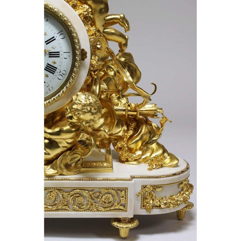 Palatial 19th Century Louis XV Style Ormolu Mantel Cherub Clock Attr. Beurdeley  For Sale 1