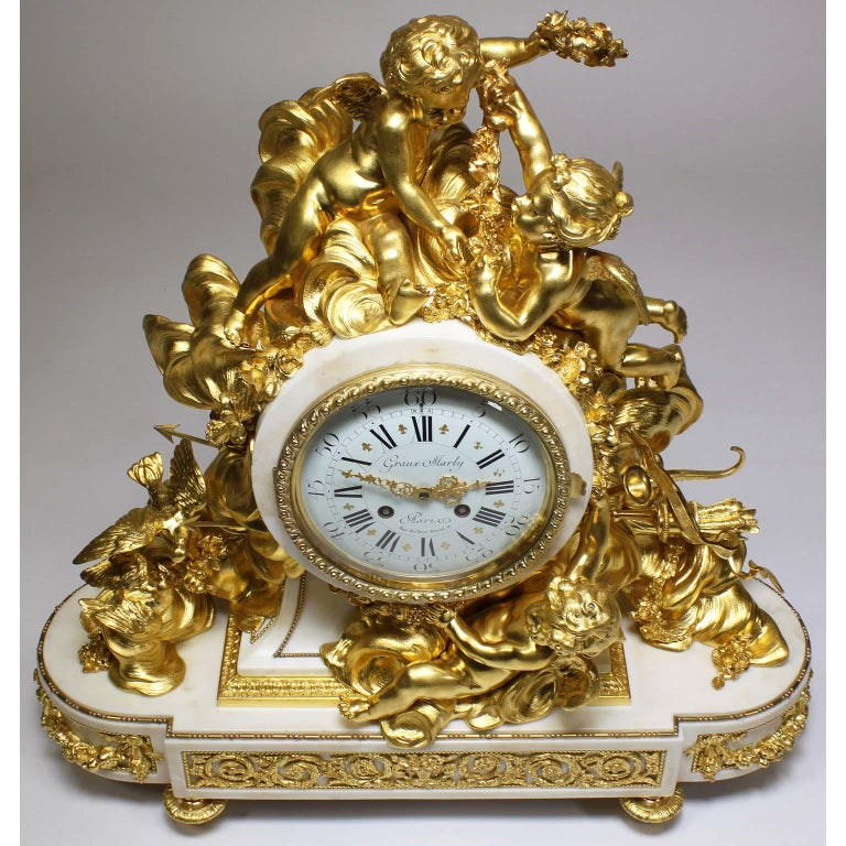 Palatial 19th Century Louis XV Style Ormolu Mantel Cherub Clock Attr. Beurdeley  For Sale 2