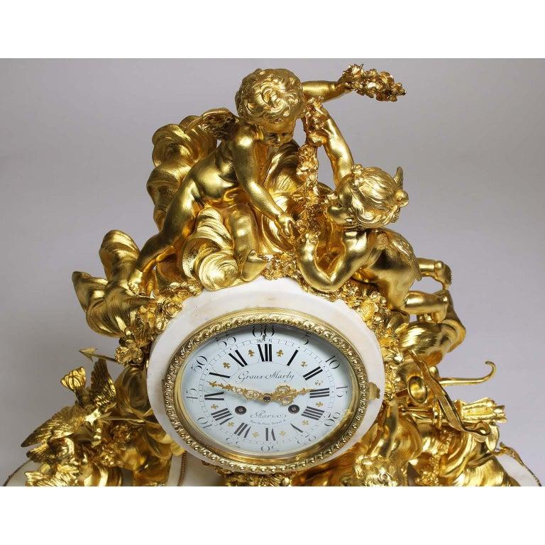 Palatial 19th Century Louis XV Style Ormolu Mantel Cherub Clock Attr. Beurdeley  For Sale 3