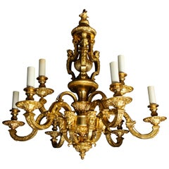 Palatial and Large Antique French Louis XVI Gilt Bronze Figural Chandelier