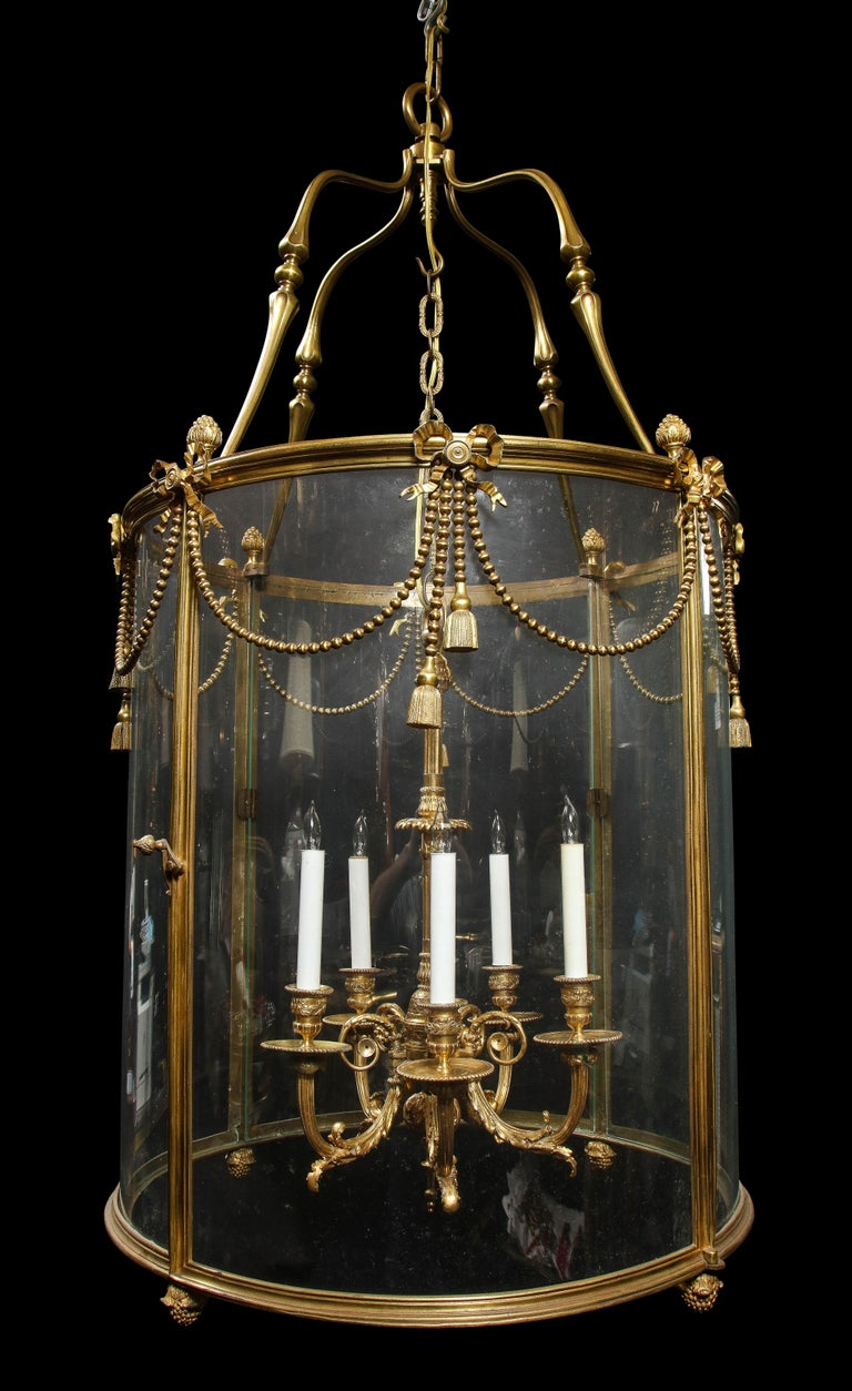 Palatial and Massive Antique French Louis XVI Multi Light Gilt Bronze Lantern In Good Condition For Sale In New York, NY
