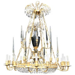 Palatial Baltic Russian Neoclassical Bronze Crystal Porcelain Urn Chandelier