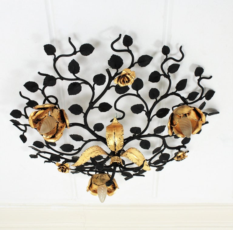 Palatial Black and Gilt Wrought Iron Large Floral Light Fixture / Flush Mount For Sale 4