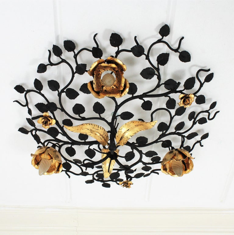 Palatial Black and Gilt Wrought Iron Large Floral Light Fixture / Flush Mount For Sale 5