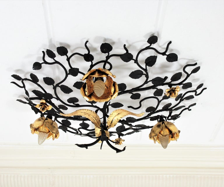 Palatial Black and Gilt Wrought Iron Large Floral Light Fixture / Flush Mount For Sale 6