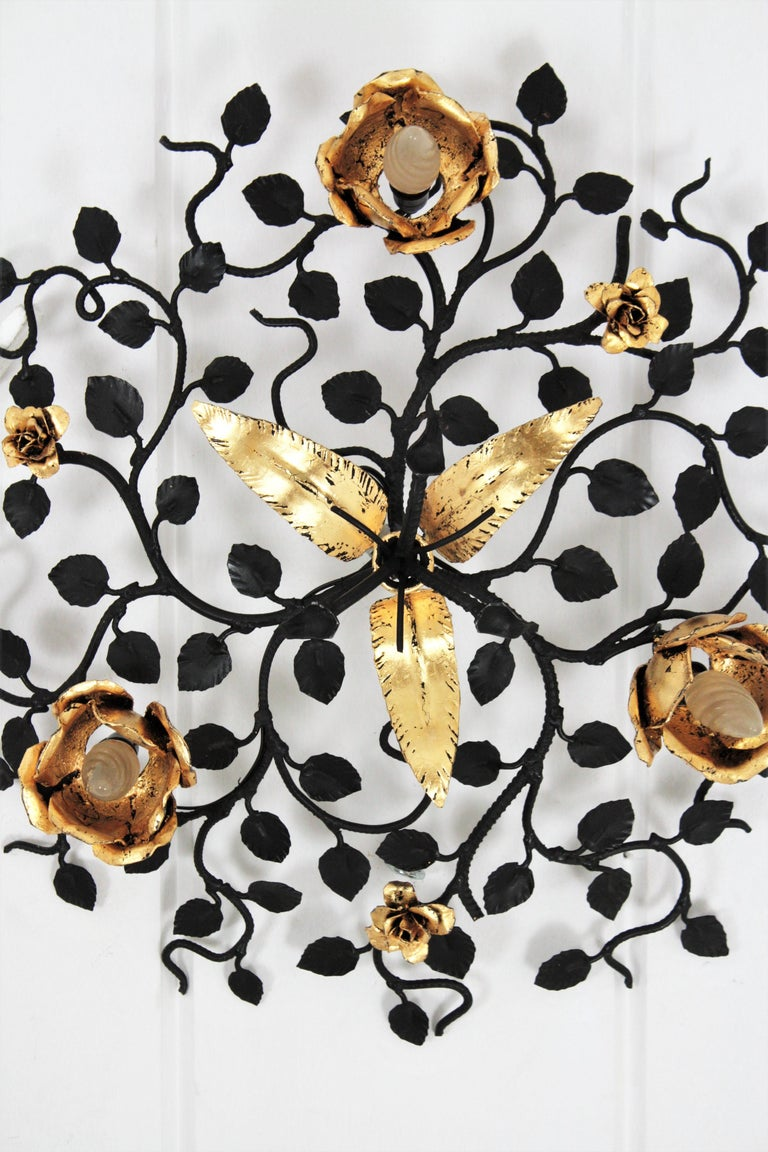 Palatial Black and Gilt Wrought Iron Large Floral Light Fixture / Flush Mount For Sale 7
