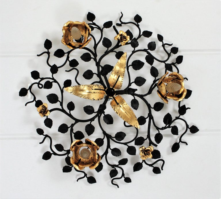Palatial Black and Gilt Wrought Iron Large Floral Light Fixture / Flush Mount For Sale 8