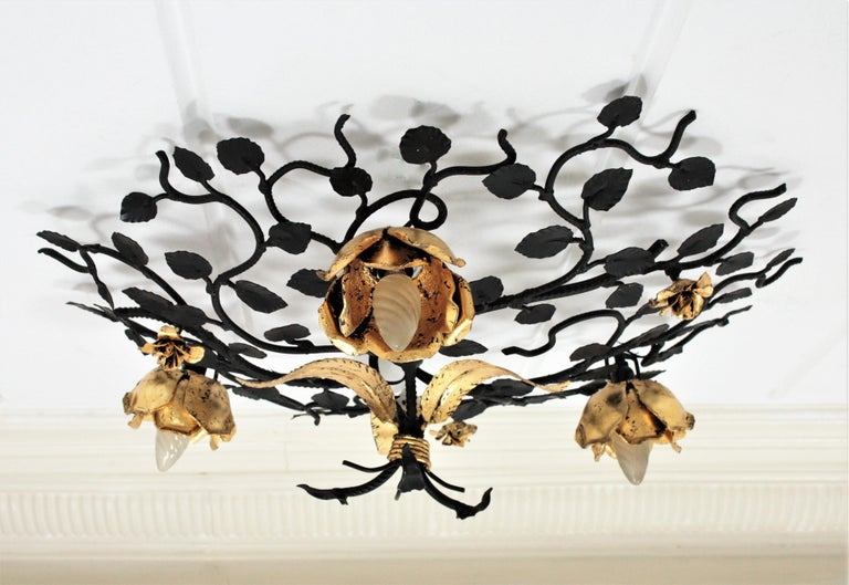 Palatial Black and Gilt Wrought Iron Large Floral Light Fixture / Flush Mount For Sale 9