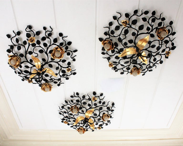 Palatial Black and Gilt Wrought Iron Large Floral Light Fixture / Flush Mount For Sale 10