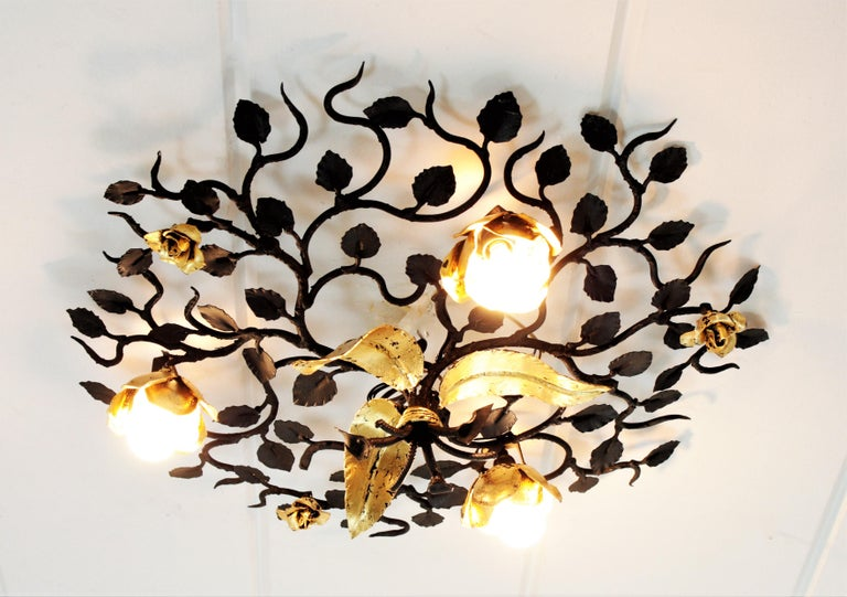 Hollywood Regency Palatial Black and Gilt Wrought Iron Large Floral Light Fixture / Flush Mount For Sale