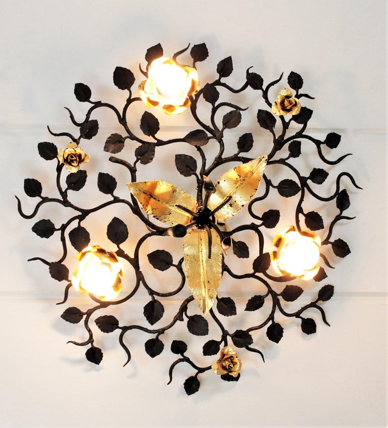 Spanish Palatial Black and Gilt Wrought Iron Large Floral Light Fixture / Flush Mount For Sale