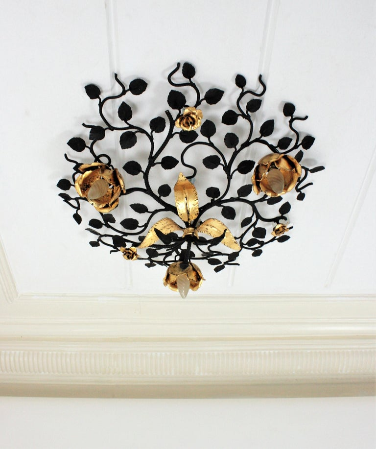 Palatial Black and Gilt Wrought Iron Large Floral Light Fixture / Flush Mount In Excellent Condition For Sale In Barcelona, ES