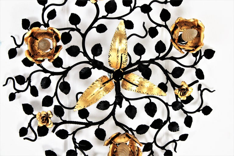 20th Century Palatial Black and Gilt Wrought Iron Large Floral Light Fixture / Flush Mount For Sale
